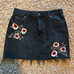 Topshop Skirts - Topshop Moto embroidered denim skirt